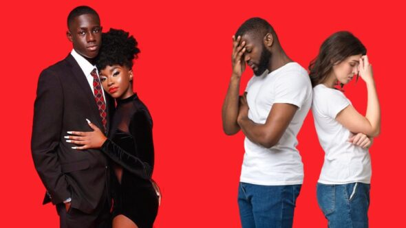 Black men and Black women. Black love couple versus interracial relationships.